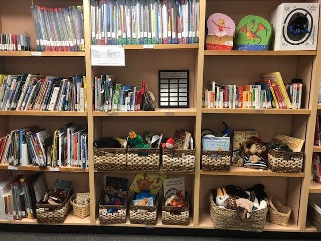 Books and toys on display at library